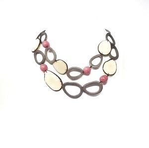 Handmade tagua Nut set necklace and earrings